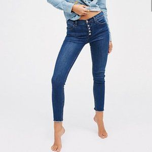 Free People Button Fly Skinny Jeans 25